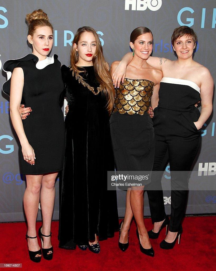 Actresses Zosia Mamet Jemima Kirke Allison Williams and creator Lena Dunham attend HBO hosts the premiere of 'Girls' Season 2 at the NYU Skirball...