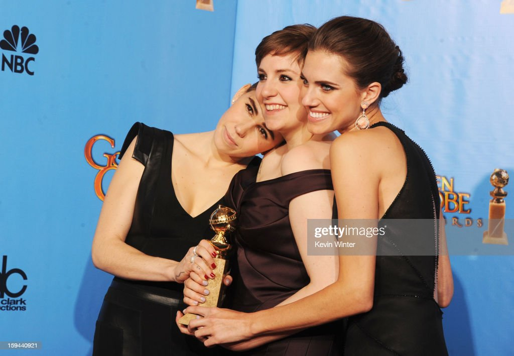 Actresses <a gi-track='captionPersonalityLinkClicked' href=/galleries/search?phrase=Zosia+Mamet&family=editorial&specificpeople=7439328 ng-click='$event.stopPropagation()'>Zosia Mamet</a>, <a gi-track='captionPersonalityLinkClicked' href=/galleries/search?phrase=Lena+Dunham&family=editorial&specificpeople=5836535 ng-click='$event.stopPropagation()'>Lena Dunham</a> and <a gi-track='captionPersonalityLinkClicked' href=/galleries/search?phrase=Allison+Williams+-+Actress&family=editorial&specificpeople=594198 ng-click='$event.stopPropagation()'>Allison Williams</a> of 'Girls' pose in the press room during the 70th Annual Golden Globe Awards held at The Beverly Hilton Hotel on January 13, 2013 in Beverly Hills, California.