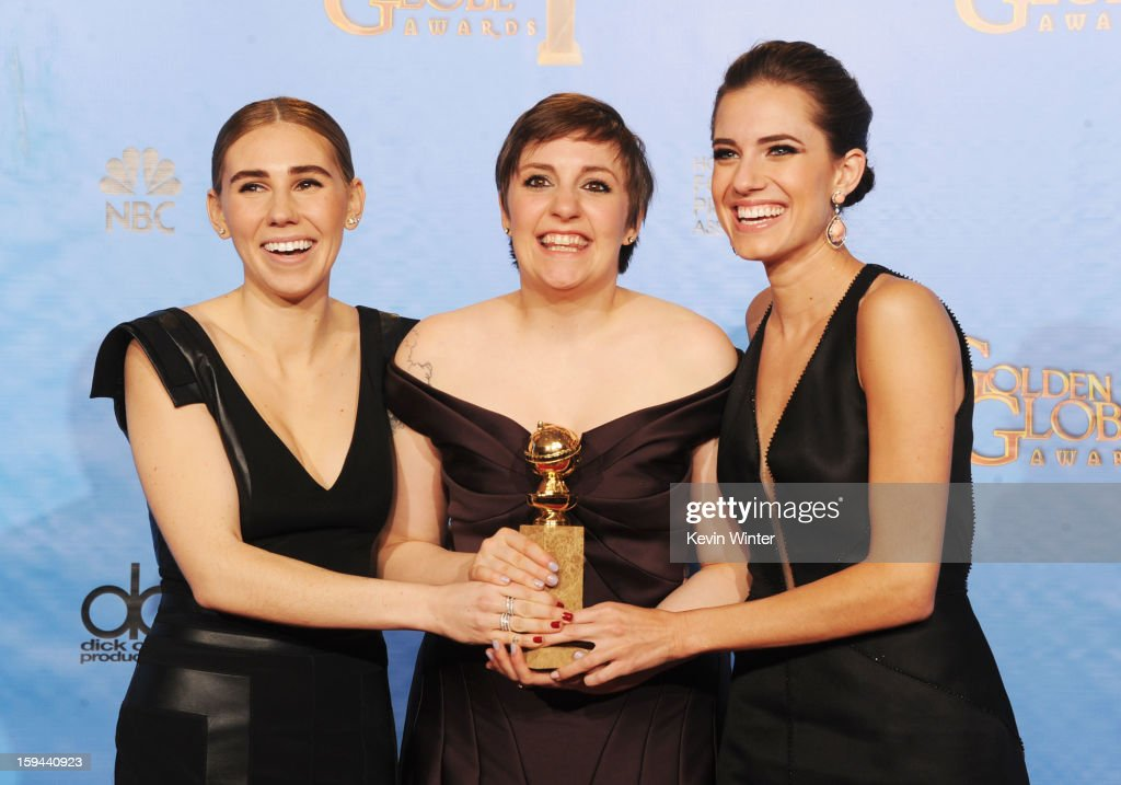 Actresses <a gi-track='captionPersonalityLinkClicked' href=/galleries/search?phrase=Zosia+Mamet&family=editorial&specificpeople=7439328 ng-click='$event.stopPropagation()'>Zosia Mamet</a>, <a gi-track='captionPersonalityLinkClicked' href=/galleries/search?phrase=Lena+Dunham&family=editorial&specificpeople=5836535 ng-click='$event.stopPropagation()'>Lena Dunham</a> and <a gi-track='captionPersonalityLinkClicked' href=/galleries/search?phrase=Allison+Williams&family=editorial&specificpeople=594198 ng-click='$event.stopPropagation()'>Allison Williams</a> of 'Girls' pose in the press room during the 70th Annual Golden Globe Awards held at The Beverly Hilton Hotel on January 13, 2013 in Beverly Hills, California.