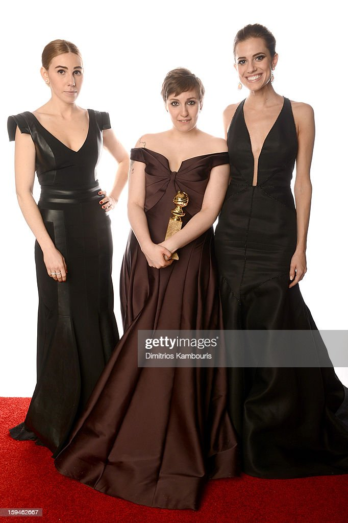 Actresses Zosia Mamet Lena Dunham and Allison Williams of 'Girls' pose for a portrait at the 70th Annual Golden Globe Awards held at The Beverly...