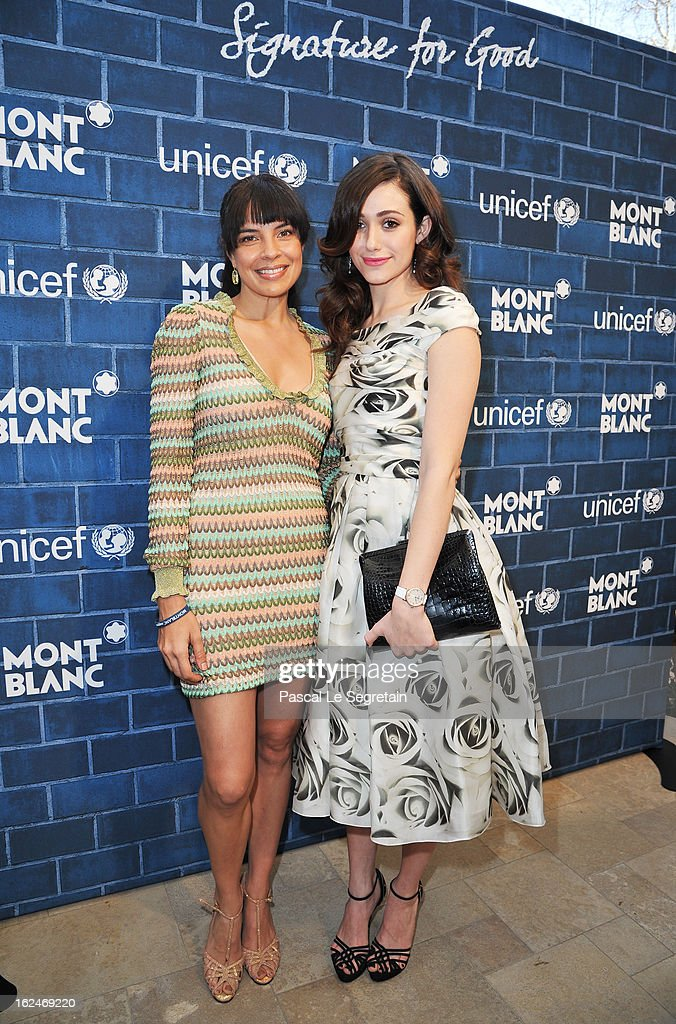 Actresses Zuleikha Robinson and Emmy Rossum wearing Montblanc Star Classique Lady Automatic and Montblanc Collection Princesse Grace de Monaco attend a Pre-Oscar charity brunch hosted by Montblanc and UNICEF to celebrate the launch of their new 'Signature For Good 2013' Initiative with special guest Hilary Swank at Hotel Bel-Air on February 23, 2013 in Los Angeles, California.