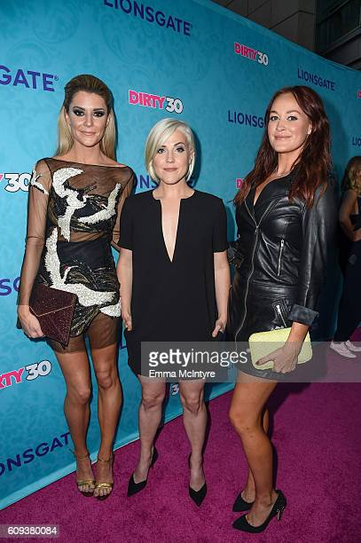 Actresses/comedians Grace Helbig Hannah Hart and Mamrie Hart arrive at the premiere of Lionsgate's 'Dirty 30' at ArcLight Hollywood on September 20...