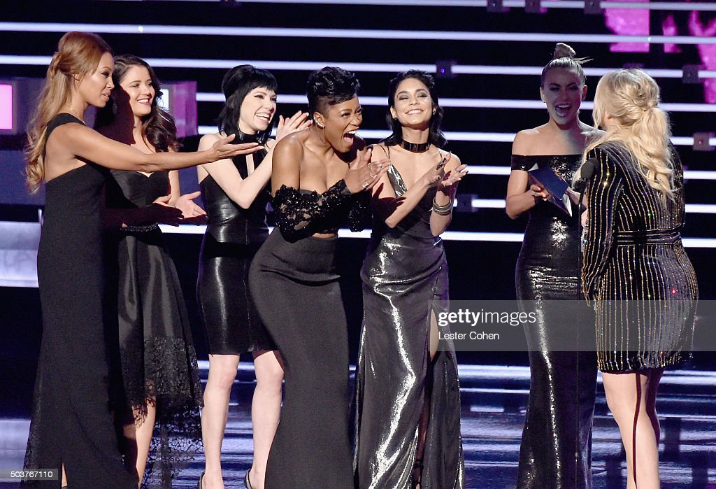 Actresses/singers Kether Donohue, Carly Rae Jepsen, Keke Palmer, Vanessa Hudgens and Julianne Hough present recording artist Meghan Trainor the Favorite Album award for 'Title' onstage during the People's Choice Awards 2016 at Microsoft Theater on January 6, 2016 in Los Angeles, California.