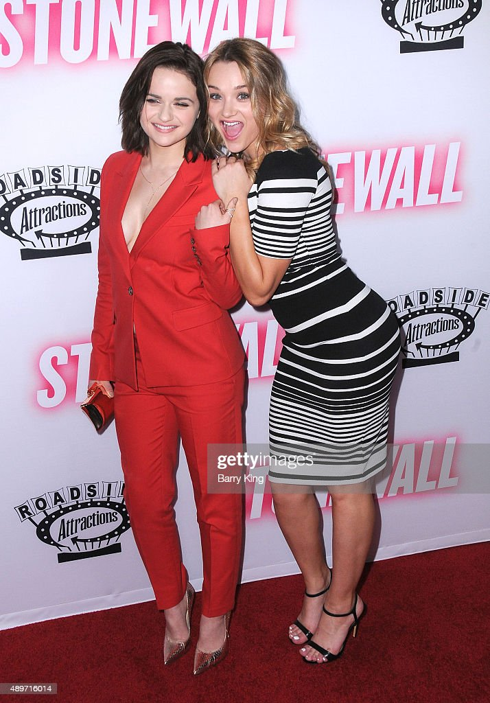 Actresses/sisters <a gi-track='captionPersonalityLinkClicked' href=/galleries/search?phrase=Joey+King+-+Actress&family=editorial&specificpeople=2264584 ng-click='$event.stopPropagation()'>Joey King</a> and <a gi-track='captionPersonalityLinkClicked' href=/galleries/search?phrase=Hunter+King&family=editorial&specificpeople=9938218 ng-click='$event.stopPropagation()'>Hunter King</a> attend the premiere of Roadside Attractions' 'Stonewall' at the Pacific Design Center on September 23, 2015 in West Hollywood, California.