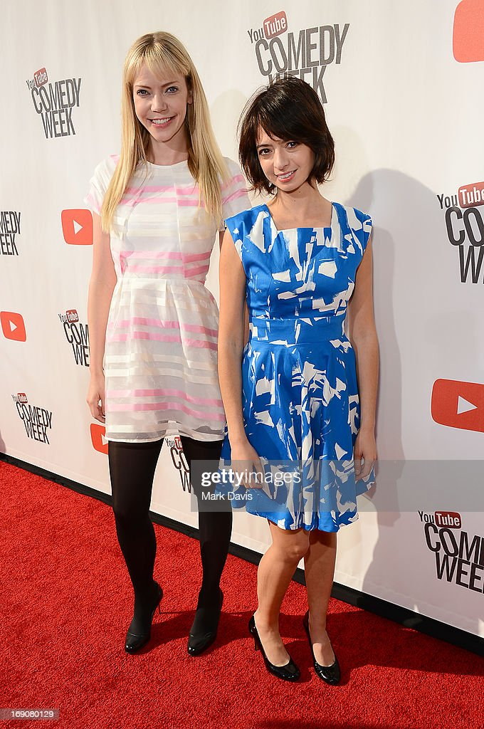Actresses/songwriters Riki Lindhome (L) and Kate Micucci of Garfunkel and Oates attend 'The Big Live Comedy Show' presented by YouTube Comedy Week held at Culver Studios on May 19, 2013 in Culver City, California.