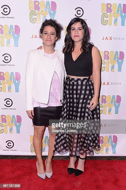 Actresses/writers Ilana Glazer and Abbi Jacobson attend The Broad City Season 2 Premiere Party at 26 Bridge Street on January 7 2015 in New York City