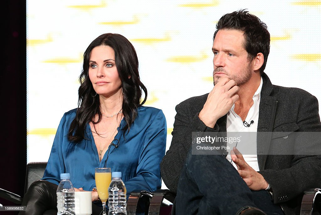 Actress/Executive Producer Courteney Cox and actor Josh Hopkins of 'Cougar Town' speaks onstage during Turner Broadcasting's 2013 TCA Winter Tour at Langham Hotel on January 4, 2013 in Pasadena, California. 23128_001_CP_0703.JPG