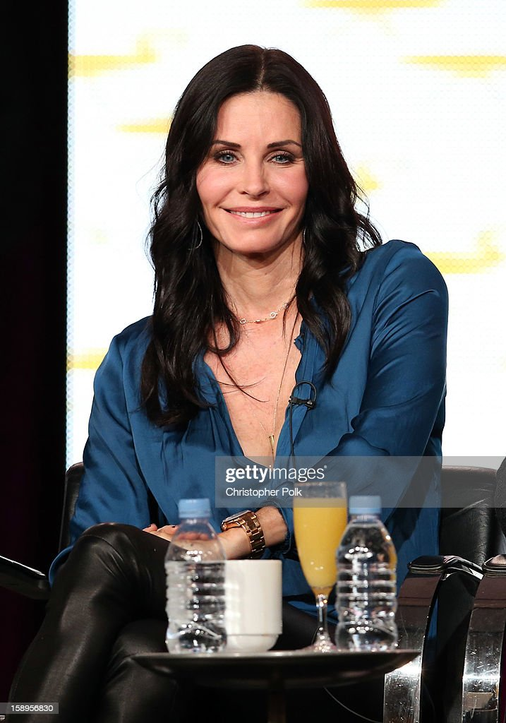 Actress/Executive Producer Courteney Cox of 'Cougar Town' speaks onstage during Turner Broadcasting's 2013 TCA Winter Tour at Langham Hotel on January 4, 2013 in Pasadena, California. 23128_001_CP_0721.JPG