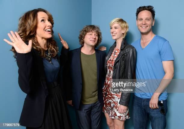 Actress/Executive Producer Jennifer Beals director Terry Miles actress Lauren Lee Smith and actor Ben Cotton of 'Cinemanovels' pose at the Guess...