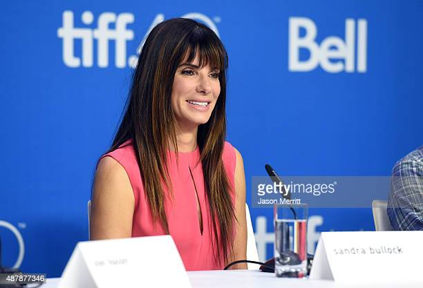 Actress/executive producer Sandra Bullock speaks onstage during the 'Our Brand Is Crisis' press conference at the 2015 Toronto International Film...