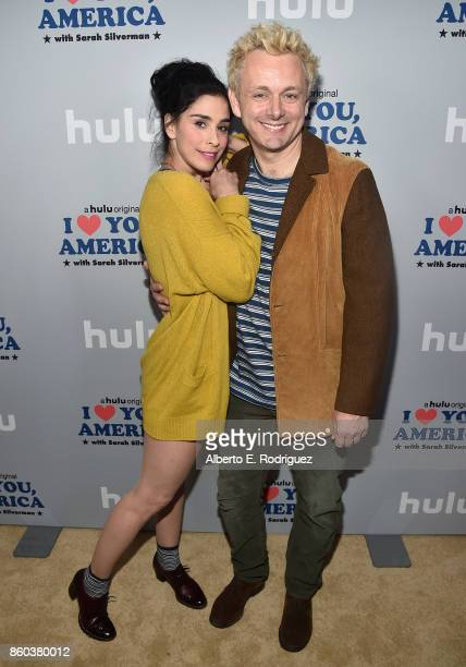 Actress/executive producer Sarah Silverman and actor Michael Sheen attend a photo op for Hulu's 'I Love You America' with Sarah Silverman at Chateau...
