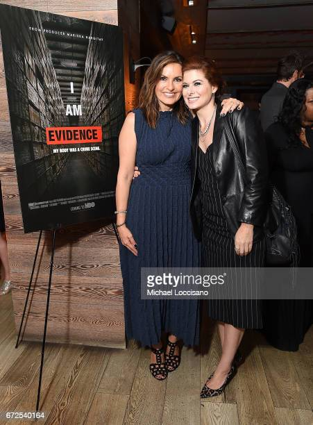 Actress/Film Producer Mariska Hargitay and actress Debra Messing attend a cocktail party at Bocca di Bacco Chelsea before the HBO Documentary...