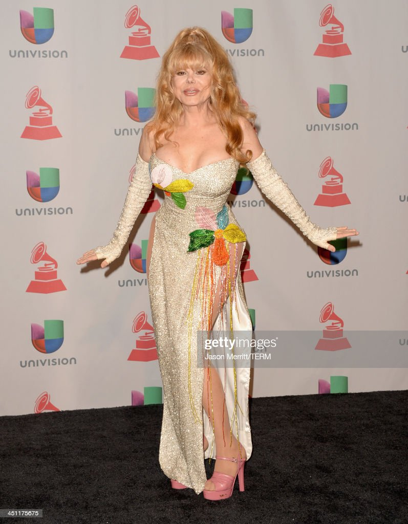 Actress/guitarist Charo poses in the press room at the 14th Annual Latin GRAMMY Awards held at the Mandalay Bay Events Center on November 21 2013 in...
