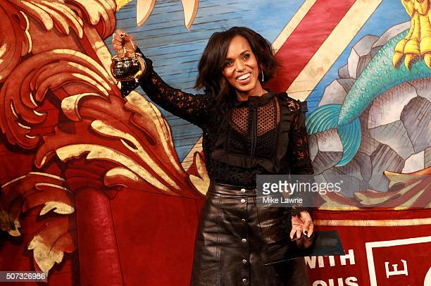 Actress/honoree Kerry Washington is presented with the Pudding Pot during the Hasty Pudding Theatricals 2016 Woman of the Year Award in Farkas Hall...