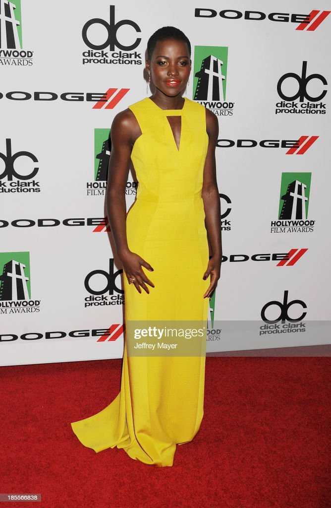 Actress/honoree Lupita Nyong'o arrives at the 17th Annual Hollywood Film Awards at The Beverly Hilton Hotel on October 21, 2013 in Beverly Hills, California.