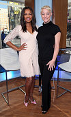 Actress/host Garcelle Beauvais and actress Teri Polo pose at Hollywood Today Live at W Hollywood on July 18 2016 in Hollywood California