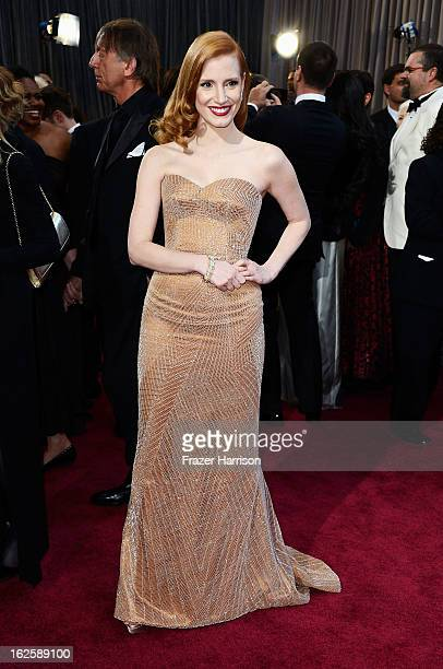 ActressJessica Chastain arrives at the Oscars at Hollywood Highland Center on February 24 2013 in Hollywood California