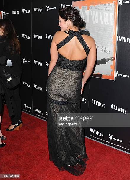 Actress/mixed martial artist Gina Carano arrives at the Los Angeles Premiere 'Haywire' at Directors Guild Of America on January 5 2012 in Los Angeles...