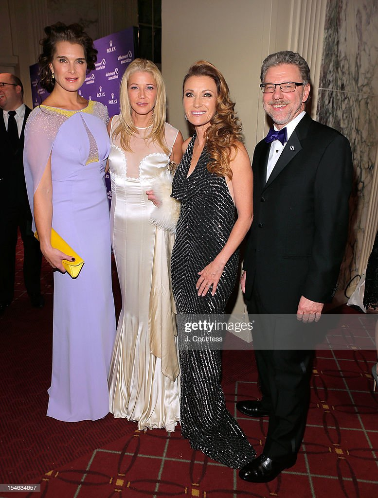 Actress/model Brooke Shields, author Candace Bushnell, actress Jane Seymour and President and CEO of the Alzheimer's Association Harry Johns attend the 2012 Alzheimer Association Rita Hayworth Gala at The Waldorf Astoria on October 23, 2012 in New York City.