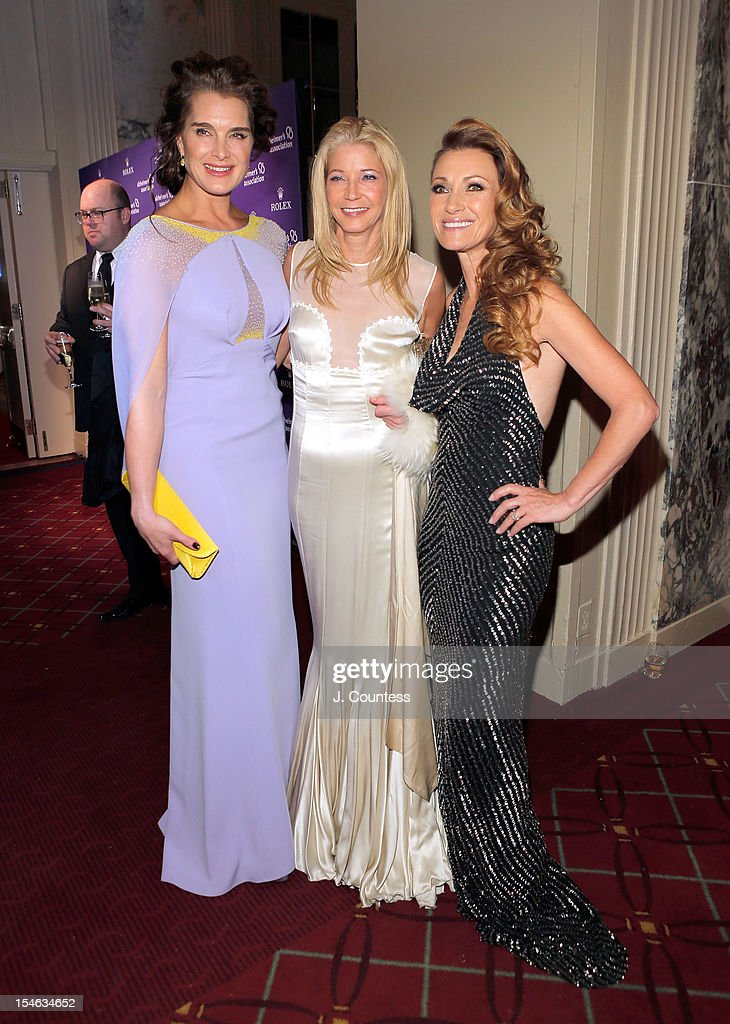 Actress/model Brooke Shields, author Candace Bushnell and actress Jane Seymour attend the 2012 Alzheimer Association Rita Hayworth Gala at The Waldorf Astoria on October 23, 2012 in New York City.