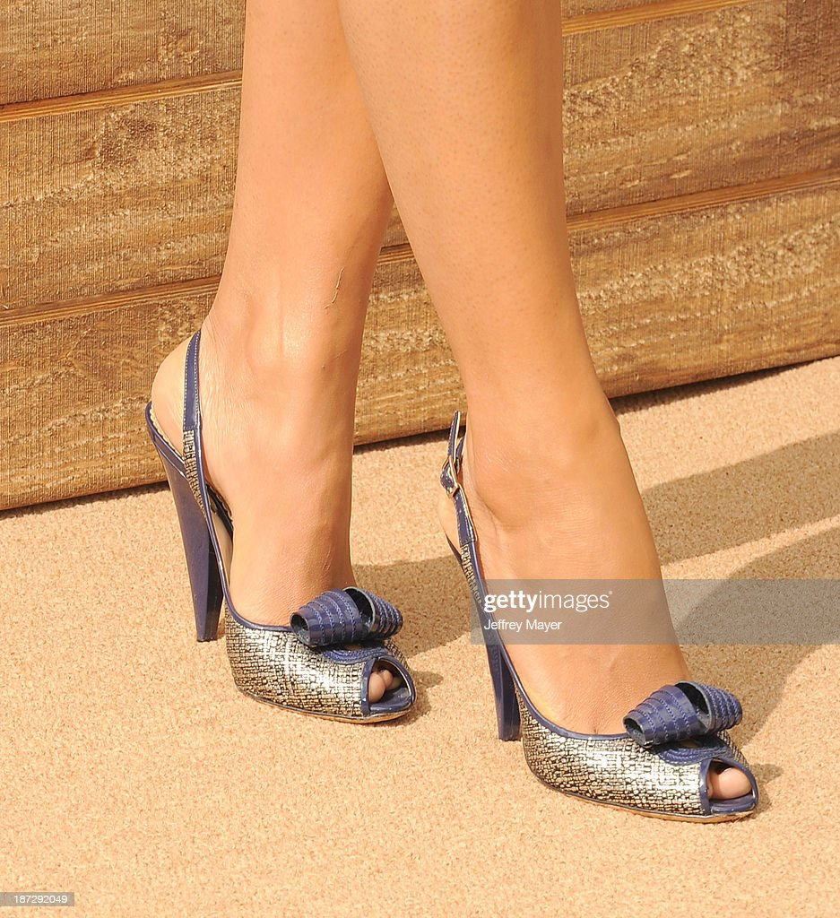 Actress/model <a gi-track='captionPersonalityLinkClicked' href=/galleries/search?phrase=Camila+Alves&family=editorial&specificpeople=4501431 ng-click='$event.stopPropagation()'>Camila Alves</a> (shoe detail) at the 'Free Birds' - Los Angeles Premiere at Westwood Village Theatre on October 13, 2013 in Westwood, California.