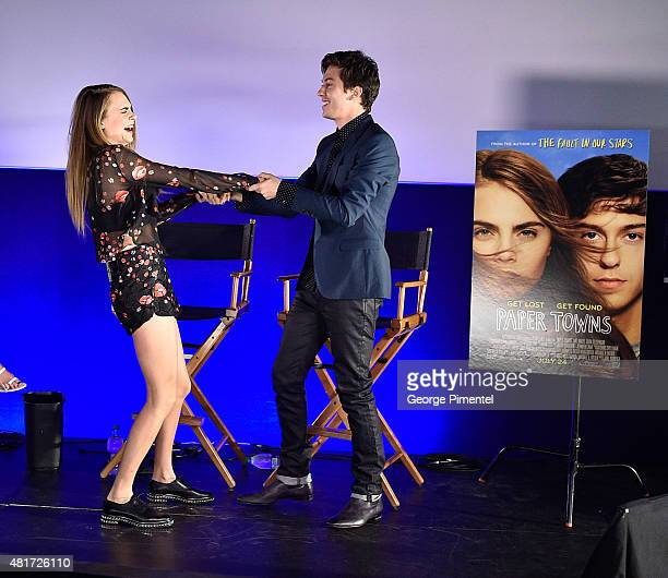 Actress/Model Cara Delevingne and actor Nat Wolff attend the Canadian Premiere Of 20th Century Fox's 'Paper Towns' at Scotiabank Theatre on July 23...