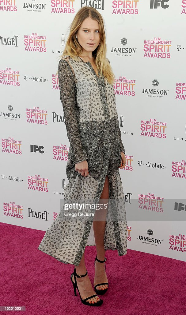 Actress/model Dree Hemingway arrives at the 2013 Film Independent Spirit Awards at Santa Monica Beach on February 23, 2013 in Santa Monica, California.