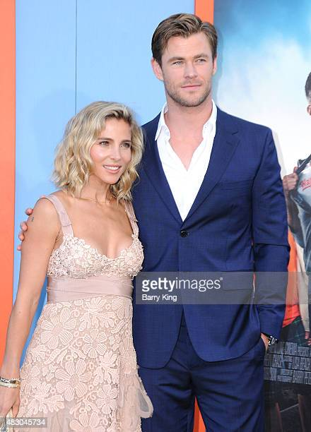 Actress/model Elsa Pataky and actor Chris Hemsworth arrive at the Premiere Of Warner Bros 'Vacation' at Regency Village Theatre on July 27 2015 in...