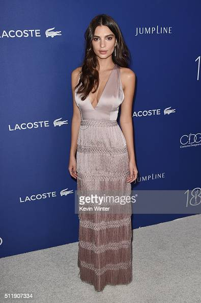 Actress/model Emily Ratajkowski attends the 18th Costume Designers Guild Awards with Presenting Sponsor LACOSTE at The Beverly Hilton Hotel on...