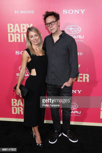 Actress/model Jennifer Holland and director James Gunn attend the premiere of Sony Pictures' 'Baby Driver' at Ace Hotel on June 14 2017 in Los...