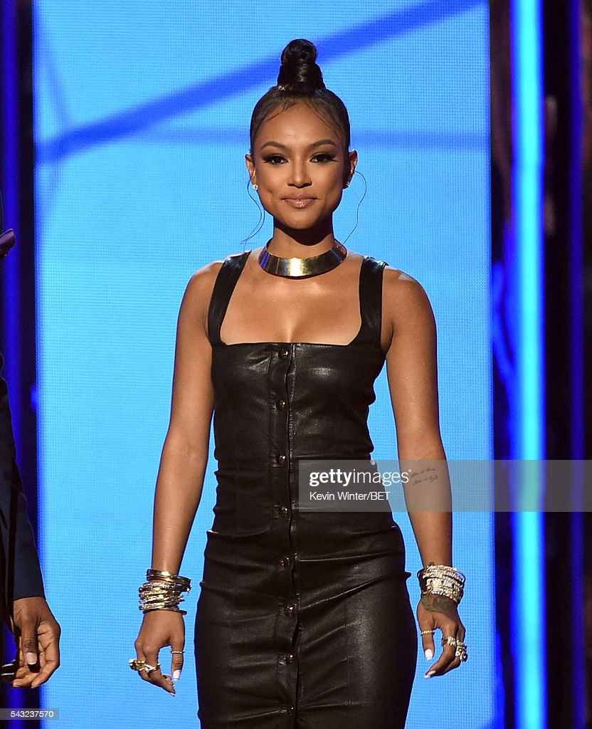 Actress/Model <a gi-track='captionPersonalityLinkClicked' href=/galleries/search?phrase=Karrueche+Tran&family=editorial&specificpeople=9447374 ng-click='$event.stopPropagation()'>Karrueche Tran</a> speaks onstage during the 2016 BET Awards at the Microsoft Theater on June 26, 2016 in Los Angeles, California.