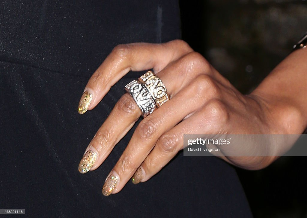 Actress/model K.D. Aubert (ring detail) attends Sue Wong's holiday party at her home on December 20, 2013 in Los Angeles, California.