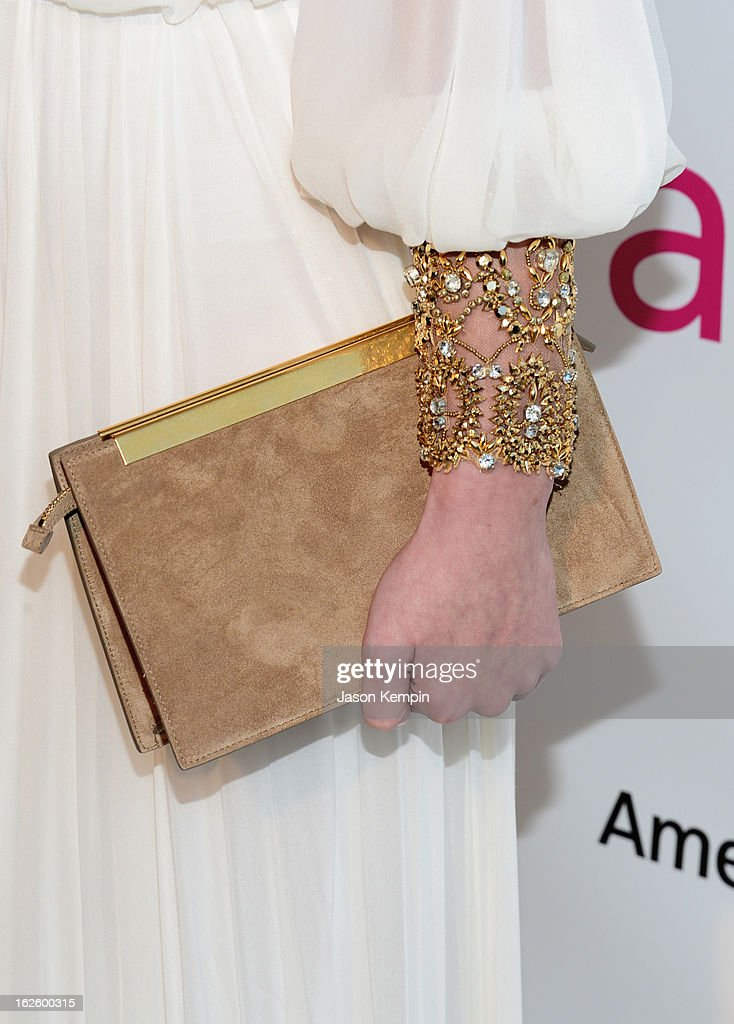Actress/model Laetitia Casta (purse detail) attends the 21st Annual Elton John AIDS Foundation Academy Awards Viewing Party at West Hollywood Park on February 24, 2013 in West Hollywood, California.