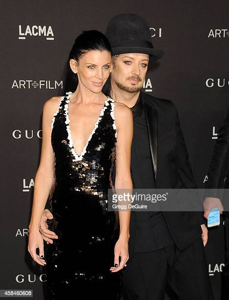 Actress/model Liberty Ross and singer Boy George of Culture Club attend the 2014 LACMA Art Film Gala Honoring Barbara Kruger And Quentin Tarantino...