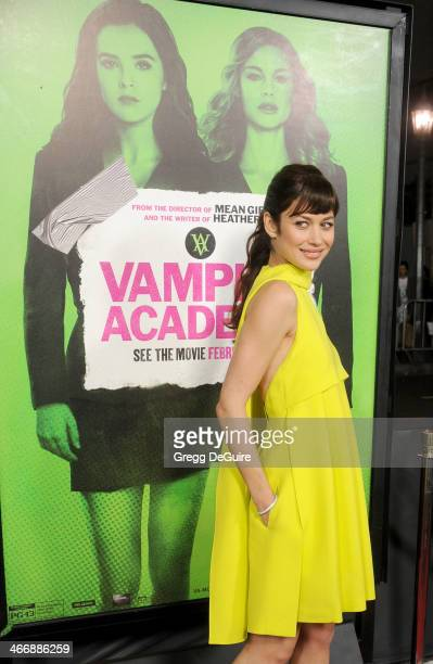 Actress/model Olga Kurylenko arrives at the Los Angeles premiere of 'Vampire Academy' at Regal Cinemas LA Live on February 4 2014 in Los Angeles...