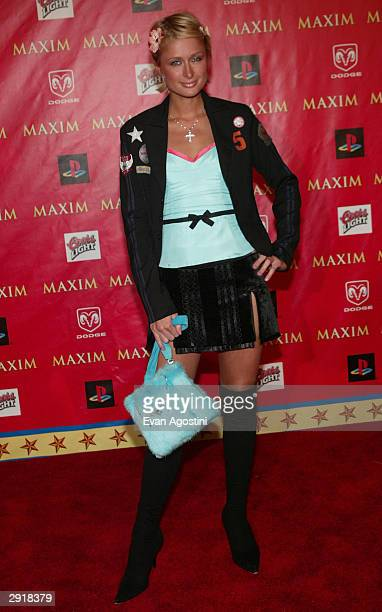 Actress/model Paris Hilton attends the Maxim Magazine's Circus Maximus Party at the Regal Ranch in Houston Texas January 30 2004