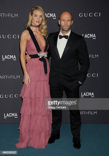 Actress/model Rosie HuntingtonWhiteley and actor Jason Statham arrive at the LACMA 2015 ArtFilm Gala Honoring James Turrell And Alejandro G Inarritu...