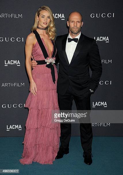 Actress/model Rosie HuntingtonWhiteley and actor Jason Statham arrive at the LACMA 2015 ArtFilm Gala Honoring James Turrell And Alejandro G Inarritu...