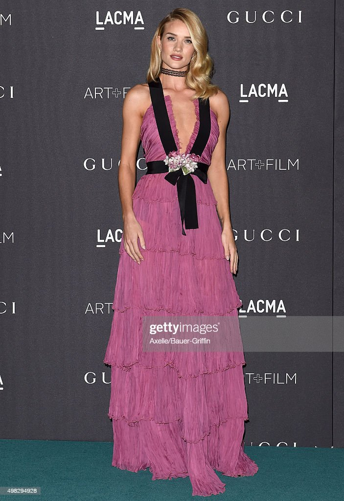 Actress/model Rosie HuntingtonWhiteley arrives at the LACMA 2015 ArtFilm Gala Honoring James Turrell And Alejandro G Inarritu Presented By Gucci at...