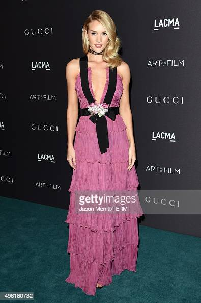 Actress/model Rosie HuntingtonWhiteley wearing Gucci attends LACMA 2015 ArtFilm Gala Honoring James Turrell and Alejandro G Iñárritu Presented by...
