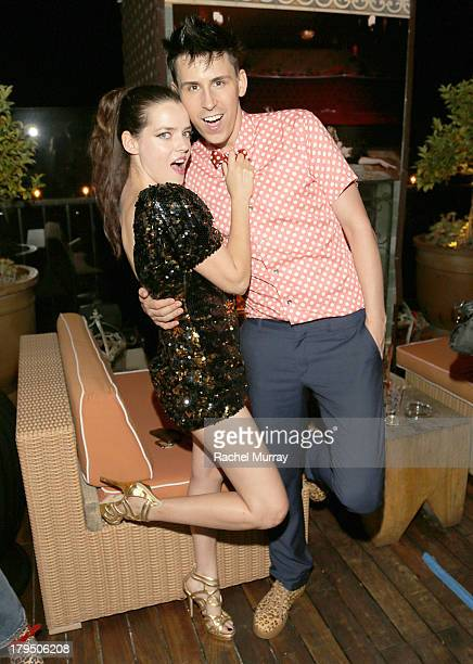 Actress/Model Roxane Mesquida and designer Jerome Rousseau attend Peroni presents footwear designer Jerome Rousseau's 5th anniversary party at Petit...