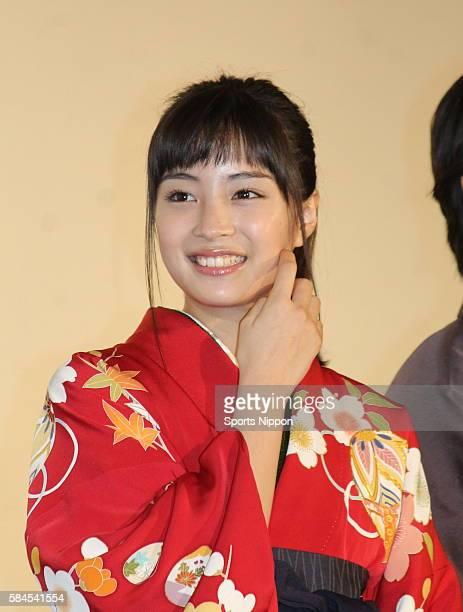 Actress/model Suzu Hirose attends opening day greeting of the 'Chihayafuru Kami no Ku' on March 19 2016 in Tokyo Japan