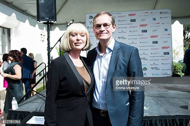 Actress/model Sybil Danning and the Governing Mayor of Berlin Michael Mueller attend the German Oscar nominees reception at the Villa Aurora on...