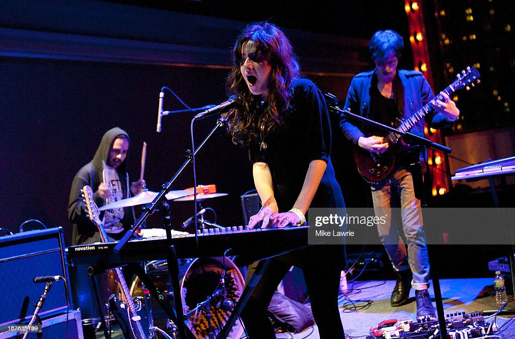 Actress/musician <a gi-track='captionPersonalityLinkClicked' href=/galleries/search?phrase=Aleksa+Palladino&family=editorial&specificpeople=808726 ng-click='$event.stopPropagation()'>Aleksa Palladino</a> of Exitmusic performs during the 2013 Crossing Brooklyn Ferry Festival at Brooklyn Academy of Music on April 26, 2013 in the Brooklyn borough of New York City.
