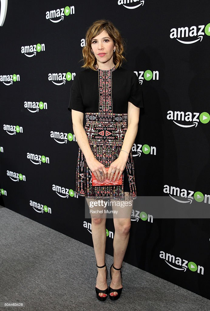 Actress/musician Carrie Brownstein attends Amazon's Golden Globe Awards Celebration at The Beverly Hilton Hotel on January 10 2016 in Beverly Hills...