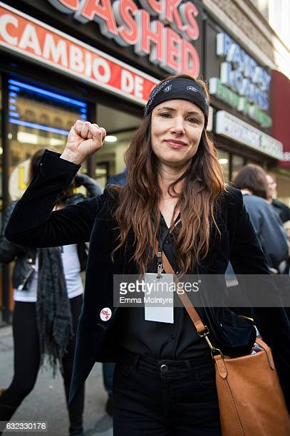 Actress/musician Juliette Lewis attends the women's march in Los Angeles on January 21 2017 in Los Angeles California