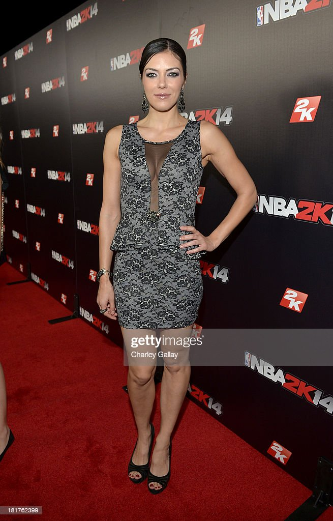 Actress/producer Adrianne Curry attends the NBA 2K14 premiere party at Greystone Manor on September 24, 2013 in West Hollywood, California.