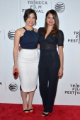 Actress/producer America Ferrera and actress Melonie Diaz attend the 'X/Y' Premiere during the 2014 Tribeca Film Festival at BMCC Tribeca PAC on...