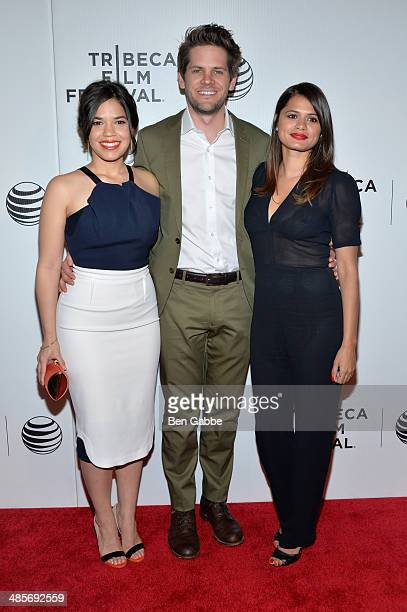 Actress/producer America Ferrera direector Ryan Piers Williams and actress Melonie Diaz attend the 'X/Y' Premiere during the 2014 Tribeca Film...