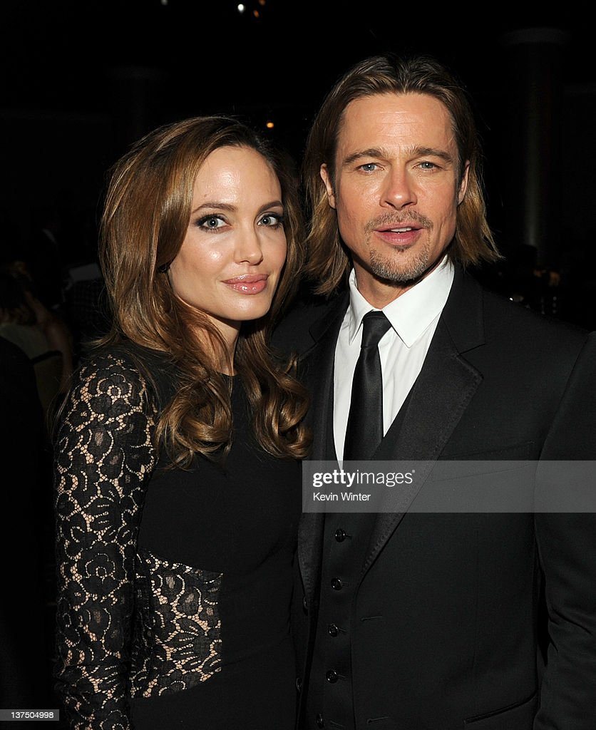 Actress/producer Angelina Jolie (L) and actor Brad Pitt attend the 23rd annual Producers Guild Awards at The Beverly Hilton hotel on January 21, 2012 in Beverly Hills, California.